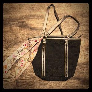 🔥Black Coach Poppy Shoulder Bag FREE Coach Scarf!